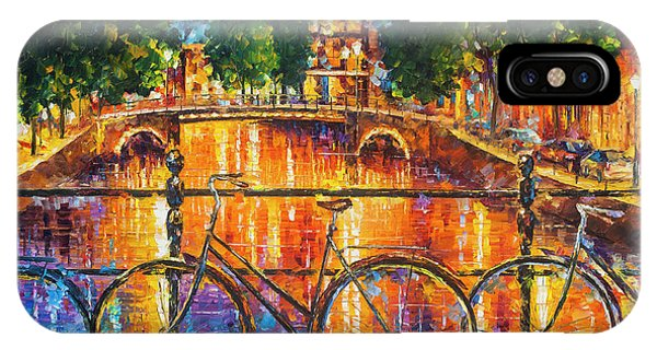 iPhone Case - Amsterdam - The Bridge Of Bicycles  by Leonid Afremov