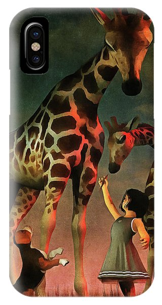 Amy And Buddy With The Giraffes IPhone Case
