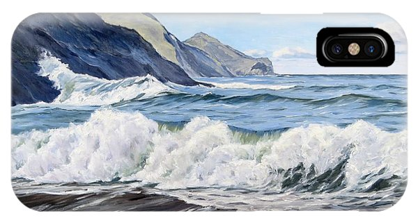 IPhone Case featuring the painting An April Morning At Crackington Haven by Lawrence Dyer