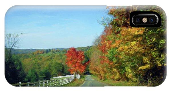 Treeline iPhone Case - An Autumns Drive-oil   by Prettyas APixel