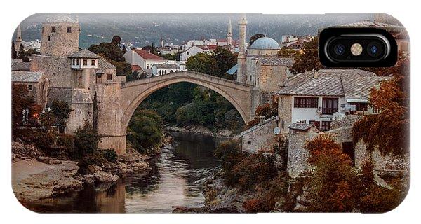 Mostar iPhone Case - An Old Bridge In Mostar by Jaroslaw Blaminsky