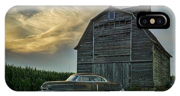 An Old Cadillac By A Barn And Cornfield IPhone Case