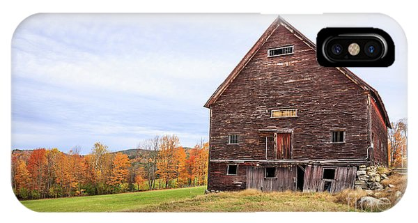 New England Fall Foliage iPhone Case - An Old Wooden Barn In Vermont. by Edward Fielding