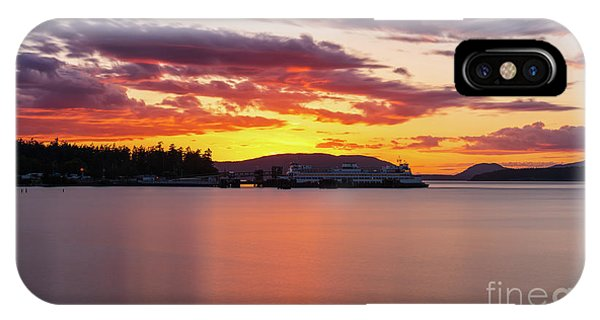 Whidbey iPhone Case - Anacortes Ferry Dock Sunset Smooth Reflections by Mike Reid