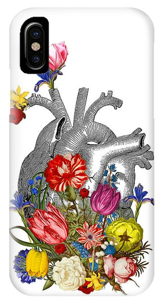 Red Heart iPhone Case - Anatomical Heart With Colorful Flowers by Madame Memento