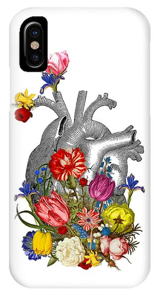 Anatomy iPhone Case - Anatomical Heart With Colorful Flowers by Madame Memento