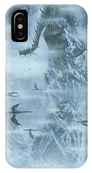 IPhone Case featuring the painting Ancalagon Departs For The War Of Wrath by Kip Rasmussen