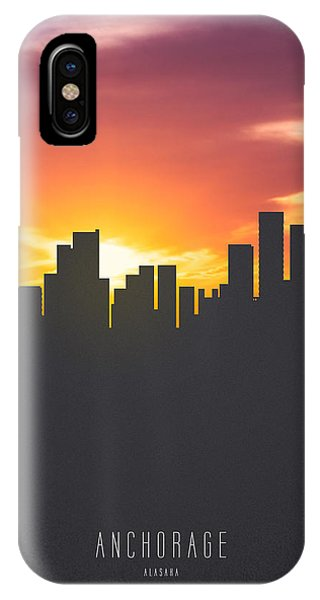 Skyline iPhone Case - Anchorage Alaska Sunset Skyline 01 by Aged Pixel