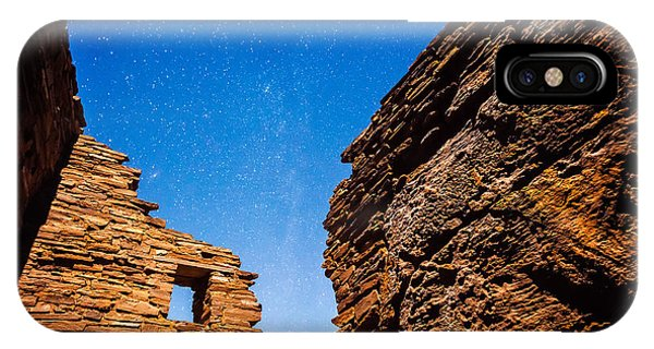 IPhone Case featuring the photograph Ancient Native American Pueblo Ruins And Stars At Night by Bryan Mullennix