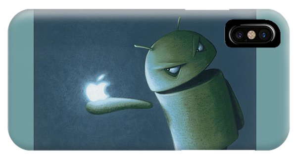 Figurative iPhone Case - Android Vs Apple by Jasper Oostland