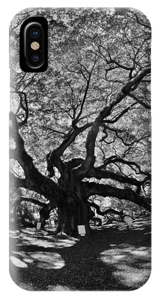 IPhone Case featuring the photograph Angel Oak Johns Island Black And White by Lisa Wooten