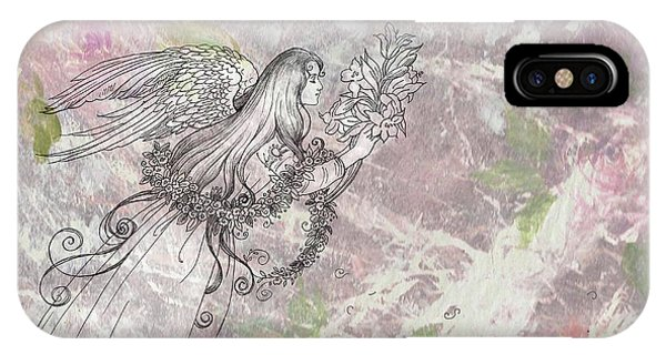 Angel On Pink And Green Florals IPhone Case