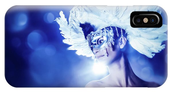 IPhone Case featuring the photograph Angel Wings Venetian Mask With Feathers Portrait by Dimitar Hristov