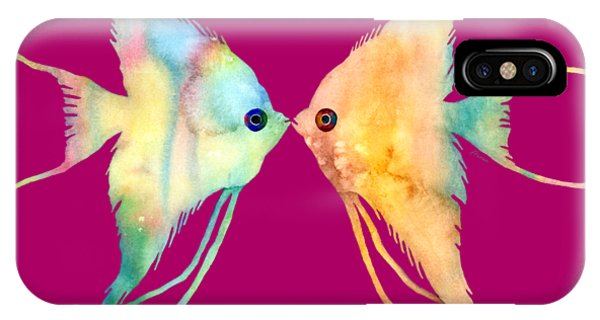 Kiss iPhone Case - Angelfish Kissing by Hailey E Herrera