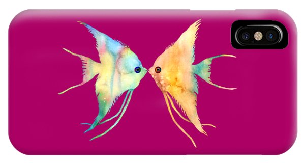 Zoology iPhone Case - Angelfish Kissing by Hailey E Herrera