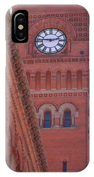 Angled View Of Clocktower At Dearborn Station Chicago IPhone Case