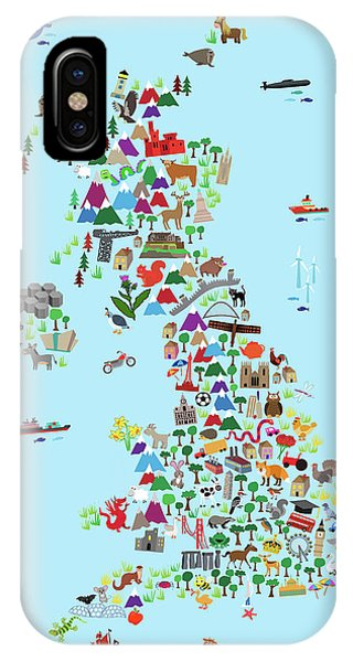 England iPhone Case - Animal Map Of Great Britain And Ni For Children And Kids by Michael Tompsett
