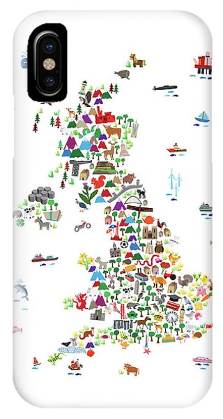 Northern Scotland iPhone Case - Animal Map Of Great Britain For Children And Kids by Michael Tompsett