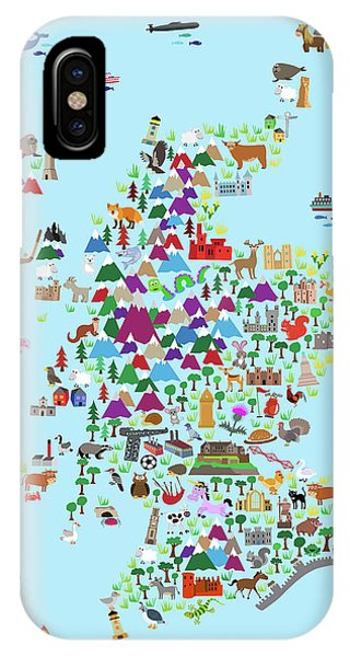 Scotland iPhone Case - Animal Map Of Scotland For Children And Kids by Michael Tompsett