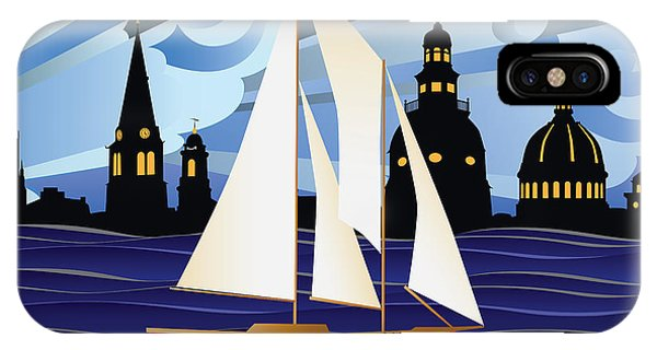 Annapolis Skyline Red Sail Boat IPhone Case