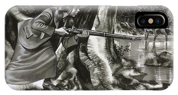 Shooting iPhone Case - Annie Oakley Shooting A Buck by Ron Embleton