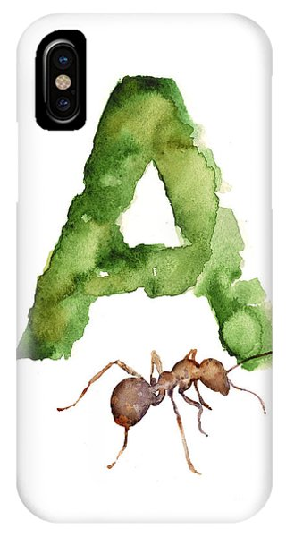Ant iPhone Case - Ant Watercolor Alphabet Painting by Joanna Szmerdt