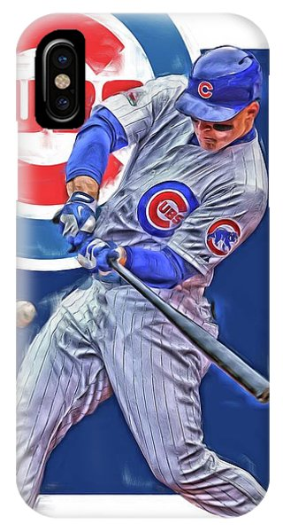 Illinois iPhone Case - Anthony Rizzo Chicago Cubs Oil Art by Joe Hamilton