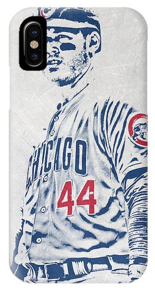Ball iPhone Case - Anthony Rizzo Chicago Cubs Pixel Art by Joe Hamilton