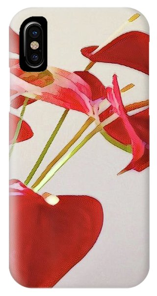 Anthurium Fragments In Red IPhone Case