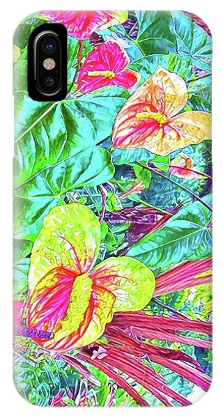 Anthuriums Pink And Turquoise IPhone Case