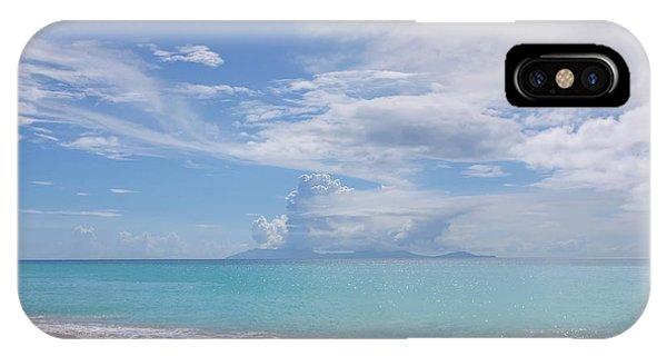 Antigua Beach View Of Montserrat Volcano IPhone Case