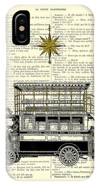 Double iPhone Case - Double-decker Bus Vintage Illustration Dictioanry Art by Madame Memento