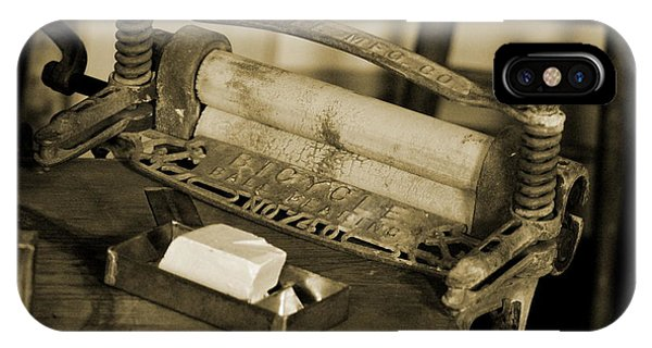 Antique Laundry Ringer And Handmade Lye Soap In Sepia IPhone Case