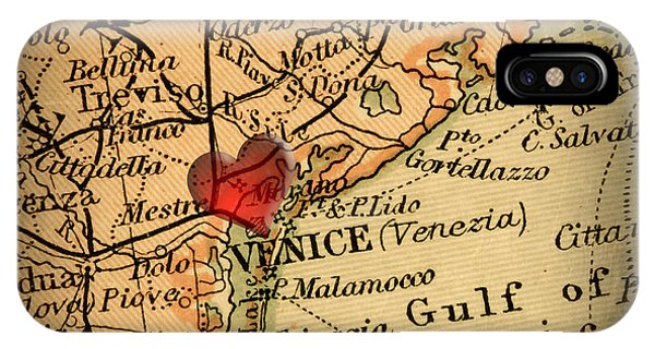 Antique Map With A Heart Over The City Of Venice In Italy Phone Case by ELITE IMAGE photography By Chad McDermott