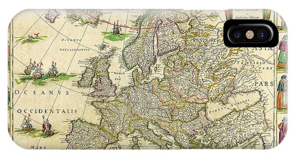 Antique Maps Of The World Map Of Europe Willem Blaeu C 1650 IPhone Case