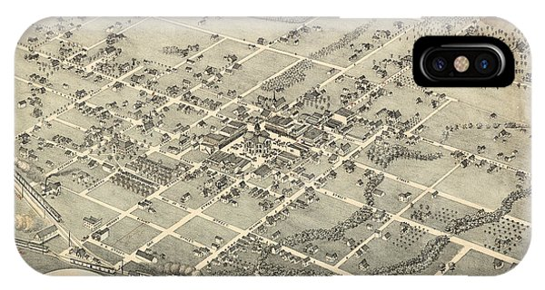Antique Maps - Old Cartographic Maps - Antique Birds Eye View Map Of Denton, Texas, 1883 IPhone Case