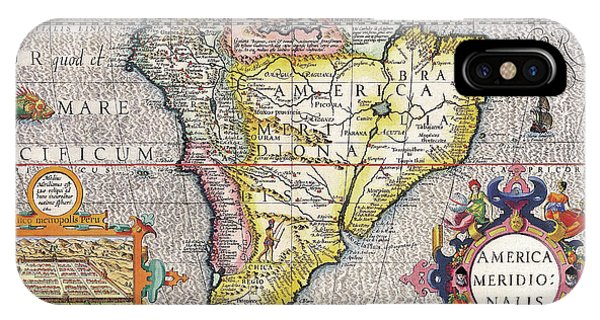 Pacific Ocean iPhone Case - Antique Maps - Old Cartographic Maps - Antique Map Of South America, 1630 by Studio Grafiikka