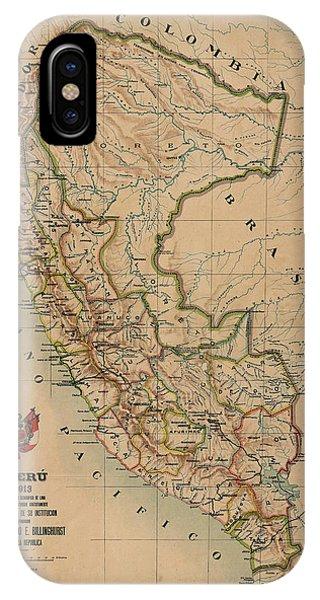 Peru iPhone Case - Antique Maps - Old Cartographic Maps - Antique Map Of Peru, South America, 1913 by Studio Grafiikka