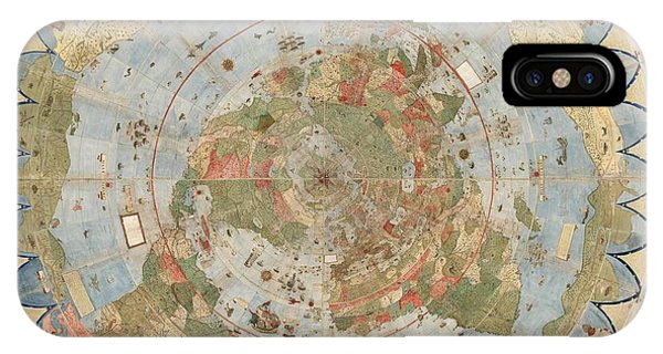 Antique Maps - Old Cartographic Maps - Flat Earth Map - Map Of The World IPhone Case