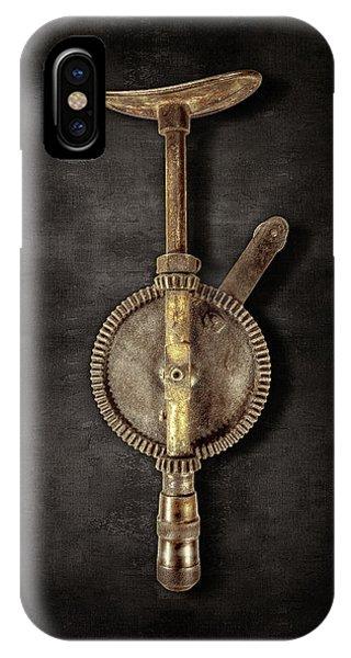 Craftsman iPhone Case - Antique Shoulder Drill Backside On Black by YoPedro