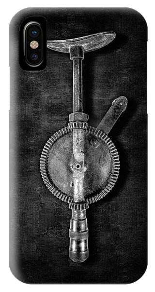 Craftsman iPhone Case - Antique Shoulder Drill Bk Bw by YoPedro