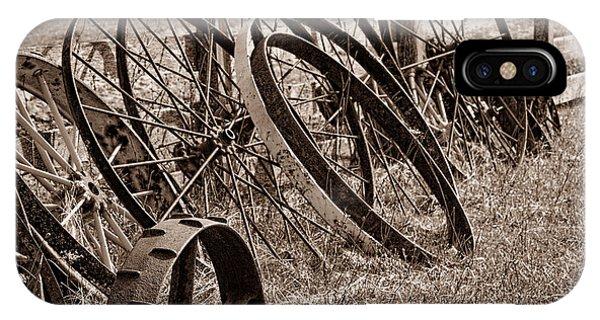 Iron iPhone Case - Antique Wagon Wheels II by Tom Mc Nemar