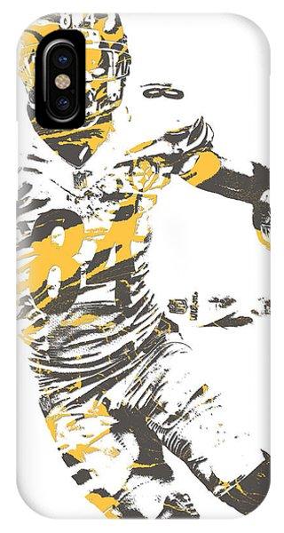 Football iPhone Case - Antonio Brown Pittsburgh Steelers Pixel Art 21 by Joe Hamilton