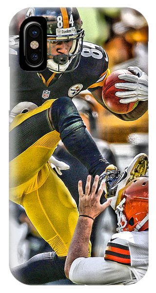 Iphone 4 iPhone Case - Antonio Brown Steelers Art 5 by Joe Hamilton