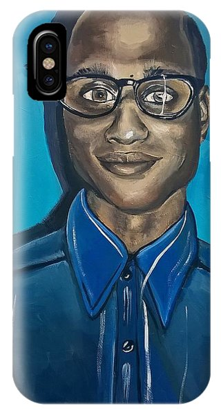 Smart Black Man Nerd Guy With Glasses Cartoon Art Painting IPhone Case