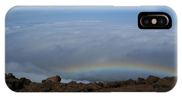 Anuenue - Rainbow At The Ahinahina Ahu Haleakala Sunrise Maui Hawaii IPhone Case