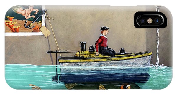 Anyfin Is Possible - Fisherman Toy Boat And Mermaid Still Life Painting IPhone Case
