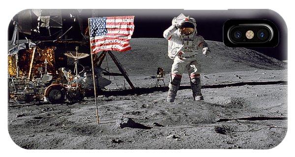 1972 iPhone Case - Apollo 16 Astronaut Leaps by Stocktrek Images