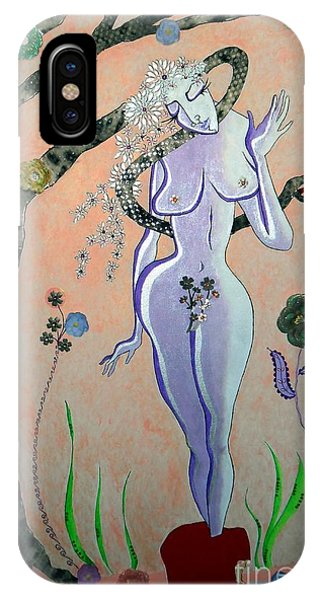Apple, Snake, Woman -- Eve In Garden Of Eden, #4 In Famous Flirts Series IPhone Case
