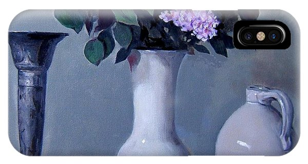 Apples And Lilacs, Silver Vase, Vintage Stoneware Jug IPhone Case